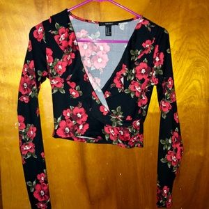 Floral long sleeves crop top